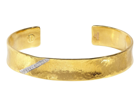 Gurhan - Gold Hourglass Cuff, pave Diamond stripe, 11.5mm