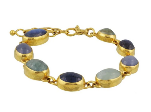 Gurhan 24k Gold One-of-a-kind Rune Bracelet, cabochon stones; Aquamarine, Chalcedony, Kyanite Moonstone