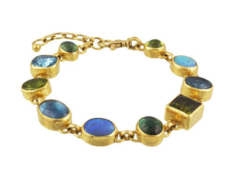 Gurhan 24k Gold One-of-a-kind Rune Bracelet, Blue Topaz, Green TourmaLine, Green Topaz, Opal and Peridot