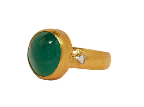 Gurhan 24k Gold One-of-a-kind Rune Ring, Cabochon Emerald, Rosecut Diamonds