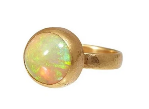 Gurhan 24k Gold One-of-a-Kind Rune Ring, Round Cabochon Orange Ethiopian Opal