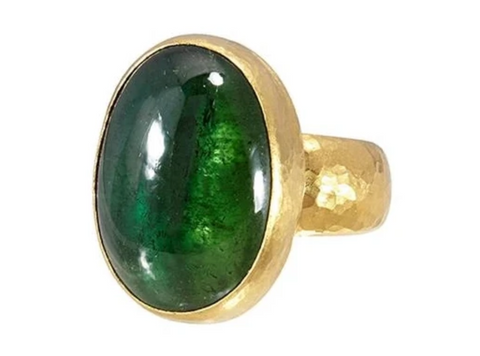 Gurhan 24k Gold One-of-a-kind Rune Ring, Cabochon Green Tourmaline