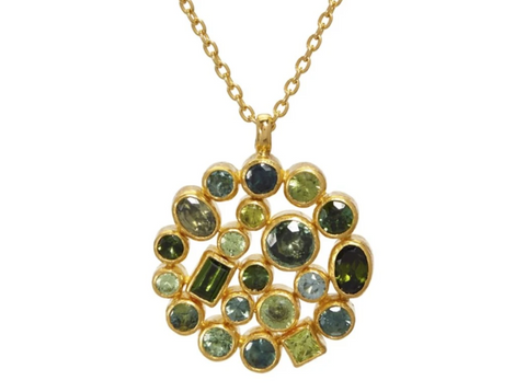 Gurhan 24k Gold One-of-a-kind Pointelle Pendant Necklace, Green Stones, 16-18""