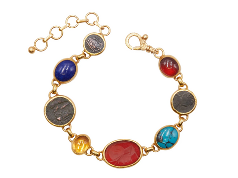 Gurhan 24k Gold One-of-a-kind Antiquity Bracelet , Hessonite Garnet, Roman Imperial Coin, Chinese Turquoise, Intaglio, Golden Citrine, Lapis