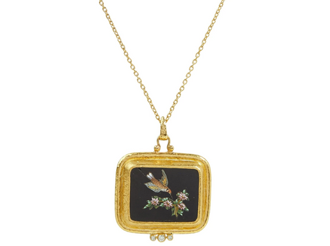 Gurhan 24k Gold One-of-a-Kind Antiquities Necklace with Italian Micro Mosaic Pendant