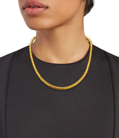 Gurhan 24k Gold Vertigo Necklace, wide hammered, 16-18""