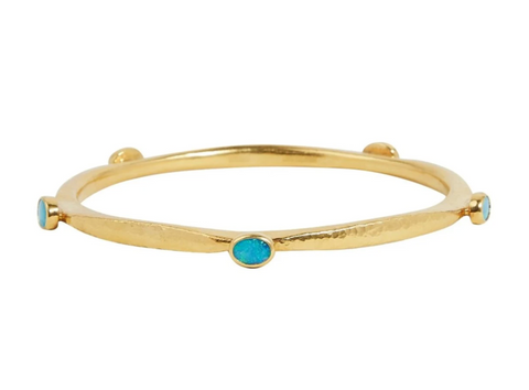 GURHAN Thor Gold Bracelet, Narrow Hammered, Bangle with Opal