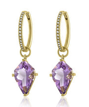 Lisa Nik Amethyst Kite Shaped Earring Drops With Hinged Diamond Hoops