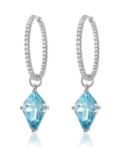 Lisa Nik Blue Topaz Kite Shaped Earring Drops With Hinged Diamond Hoops