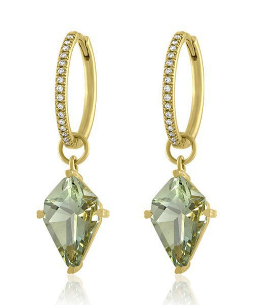 LISA NIK GREEN QUARTZ KITE SHAPED EARRING DROPS WITH HINGED DIAMOND HOOPS