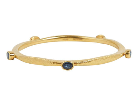 GURHAN Thor Gold Bracelet, Narrow Hammered, Bangle with Sapphire