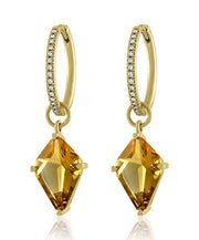 Lisa Nik Citrine Kite Shaped Earrings Drops With Hinged Diamond Hoops