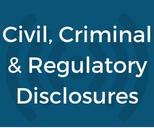 New Investment Adviser Criminal, Civil, or Regulatory Disclosures