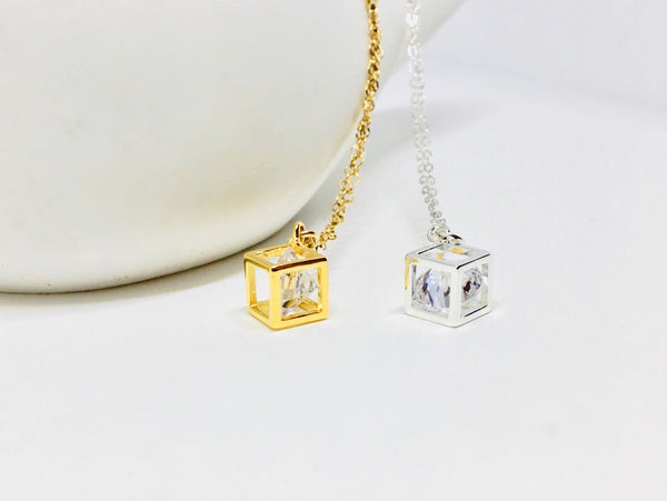 Geometric Cubist Gold Filled Necklace