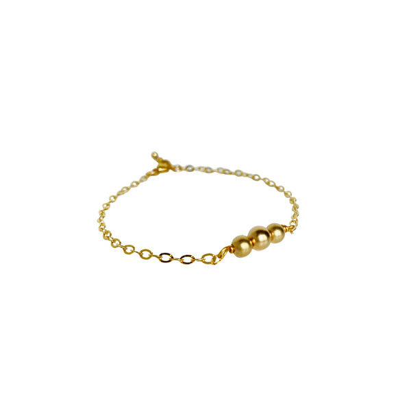 Trinity Bead Bracelet - Gold Filled or Sterling