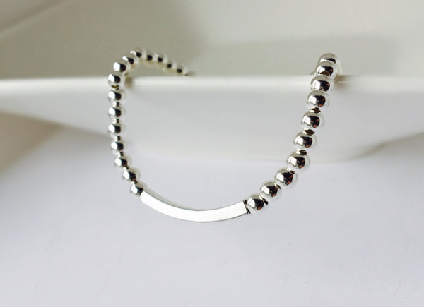 Sterling Silver Squared Tube Stretch Bracelet