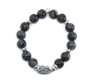 Genuine Larvikite Bracelet with Pyrite