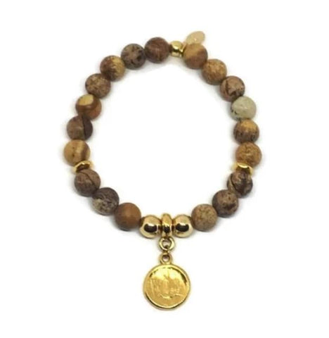 Natural Stone Coin Bracelet
