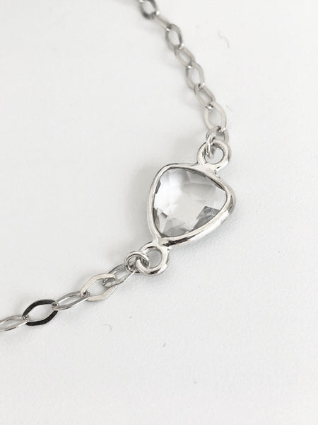 Sterling Faceted Quartz Chain Bracelet