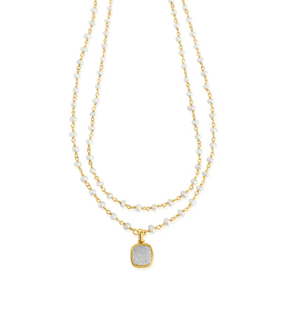 Stone Chain Double Strand Pearl & Druzy Necklace