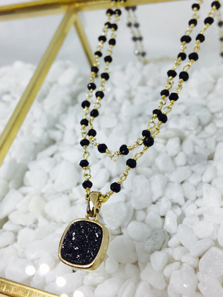Stone Chain Double Strand Spinel & Druzy Necklace