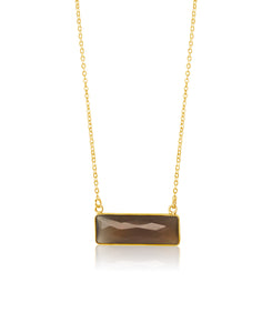 Chalcedony Bar Necklace - Grey