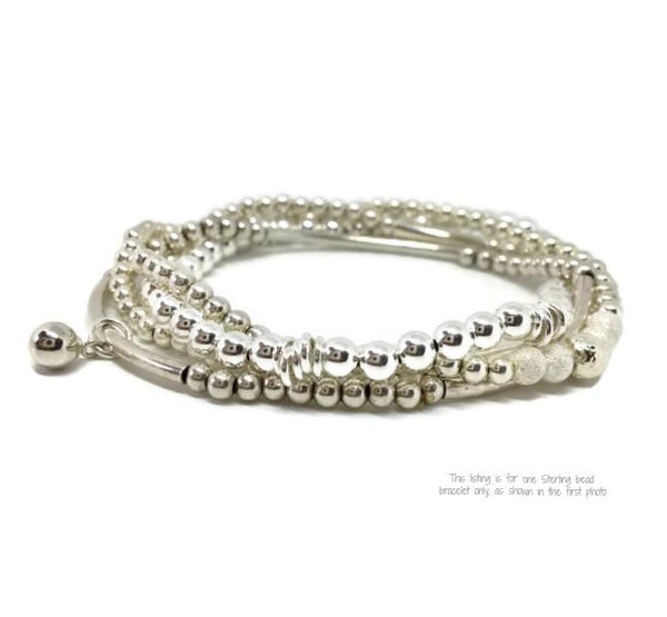 Sterling Bead Stretch Bracelet - 'Wish'