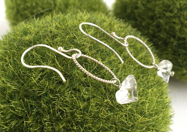 Clear Crystal Quartz Chip Earrings
