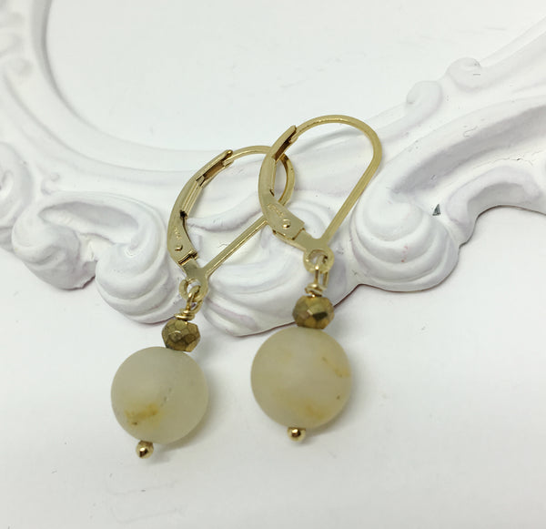 Gold Earrings with Natural Aventurine Stone Drop