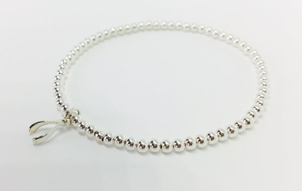 Sterling Bead Stretch Bracelet - Wish