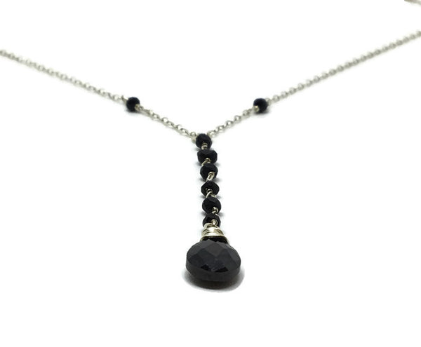 Lariat Black Crystal Necklace