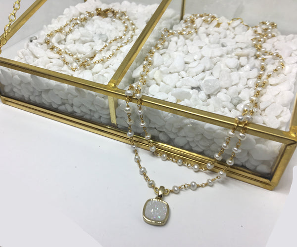 Double Strand Pearl & Druzy Necklace