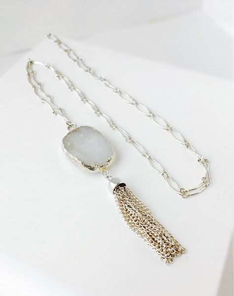 Silver Druzy Statement Necklace
