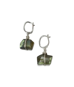 Labradorite Earrings - Raw Cut