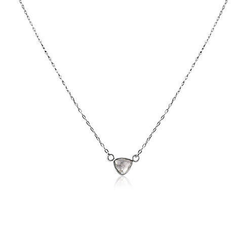 Sterling Quartz Triangle Necklace