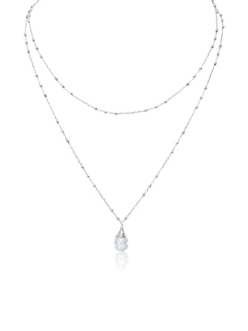 Sterling Double Diamond Necklace