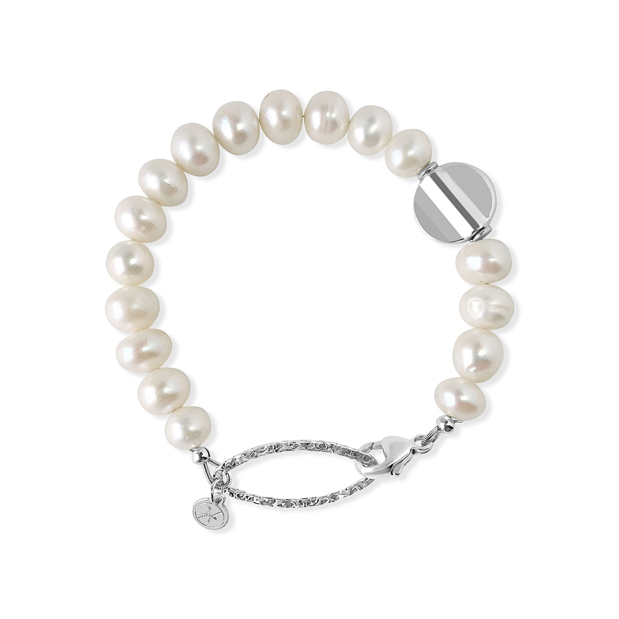Pearl Bracelet with Sterling Disc
