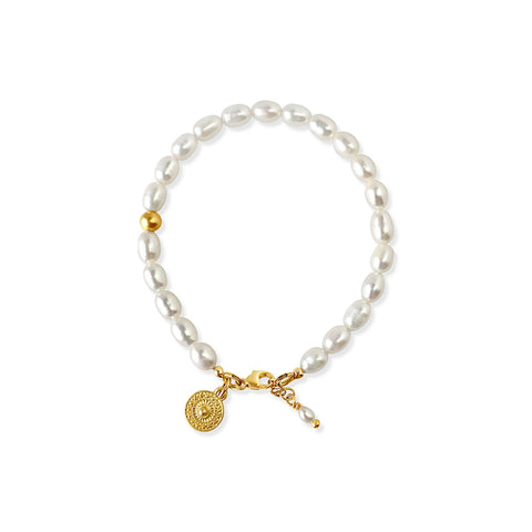 Pearl Bracelet with mini medallion charm