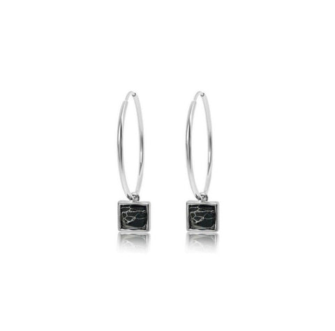 Pyramid (Onyx) Hoop Earrings