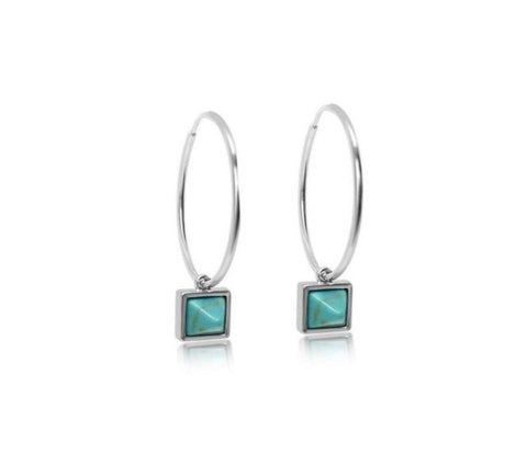 Pyramid (Turquoise) Hoop Earrings