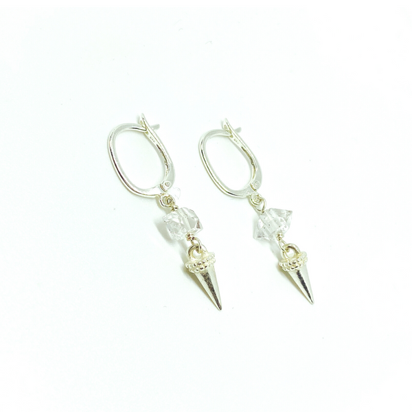 Herkimer Diamond Spike Earrings