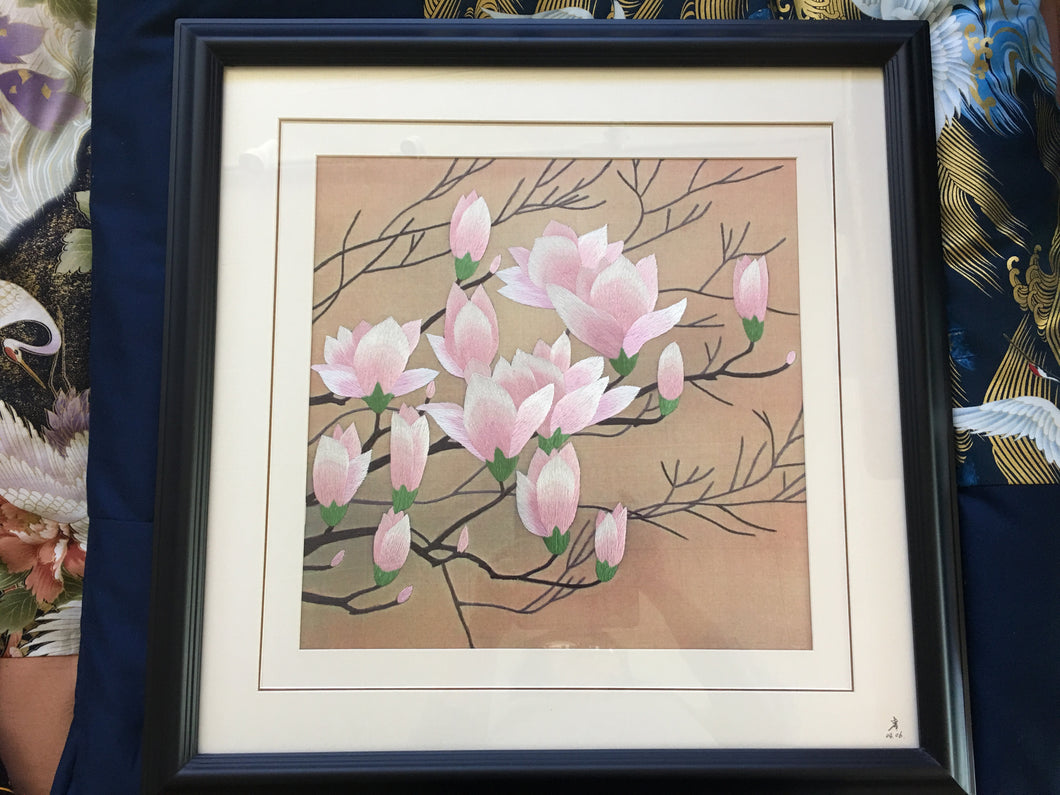 'Pink Blossoms' Framed Silk Embroidery Art