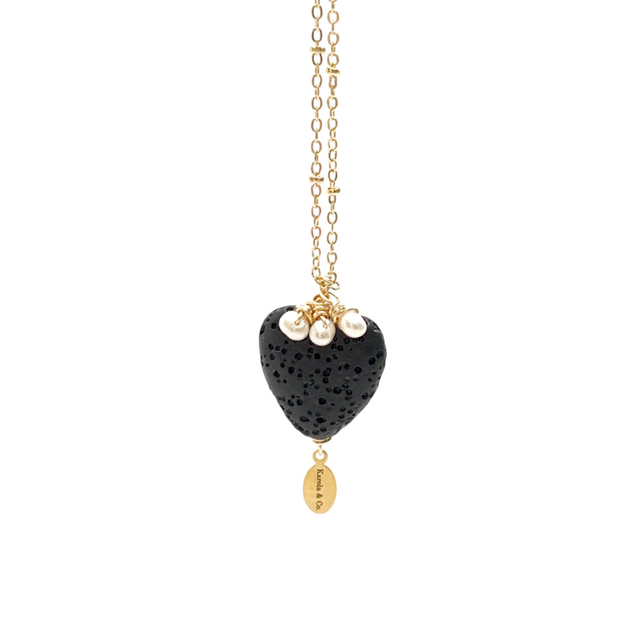 Black Heart & Pearls Necklace