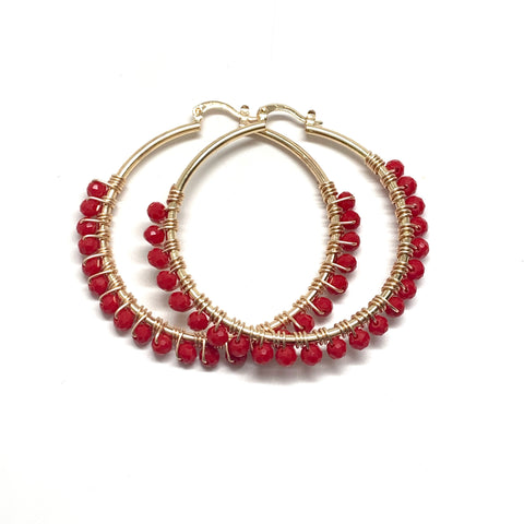 Red Large Hoops