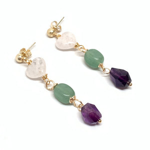Heart Quartz, Amethyst & Jade Earrings