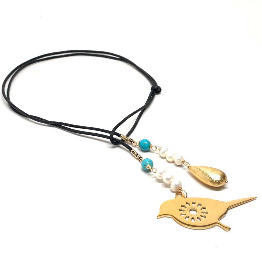 Lariat with Pearls, Turquoise & Bird