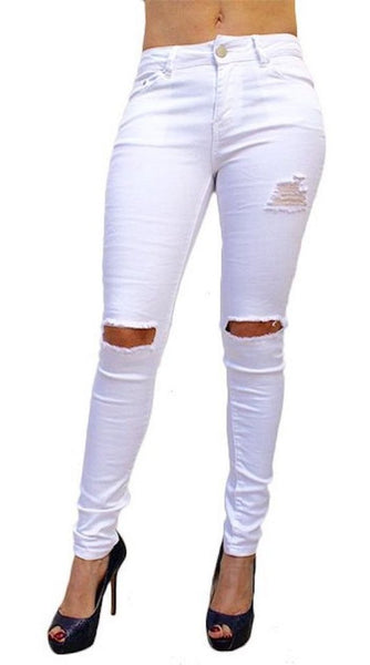 P9750 Distressed Ripped Jean Leggings