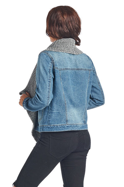 DJK46 Denim Jacket W/ Attached Sweater Ribbing - FashionPosh