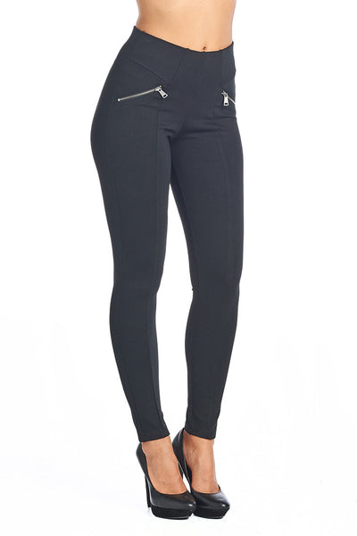 PP133 Ci Sono Leggings W/ Zipper Detailing (More color options) - FashionPosh
