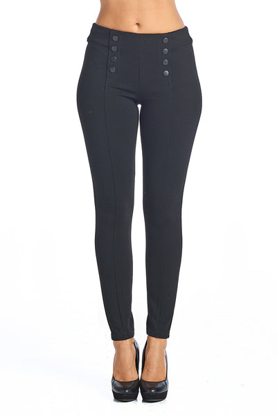 PP132 Ci Sono Button Accent High Waist Ponte Leggings - FashionPosh